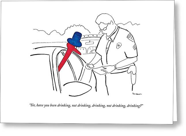 A Drinking Bird Toy Is Pulled Over By A Policeman Greeting Card