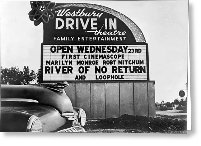 A Drive-in Theater Marquee Greeting Card by Underwood Archives