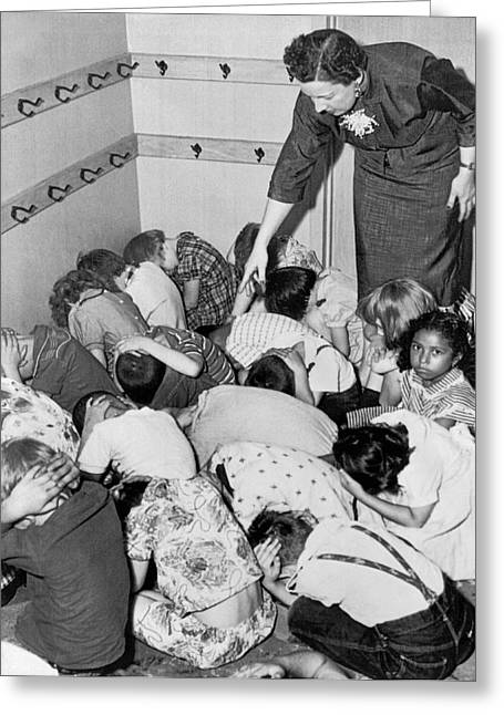A Duck And Cover Exercise In A Kindergarten Class In 1954 Greeting Card by Underwood Archives