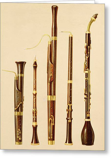 A Dulcian, An Oboe, A Bassoon Greeting Card by Alfred James Hipkins