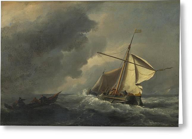 A Dutch Vessel In A Strong Breeze Greeting Card by Willem van de Velde