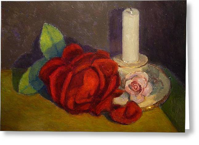 A Dying Rose Greeting Card by Terry Perham