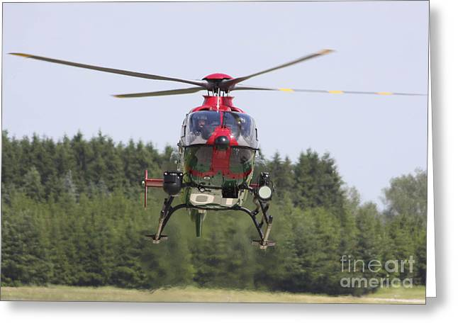 A Eurocopter Ec135 Used By German Greeting Card by Timm Ziegenthaler