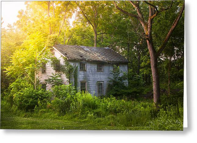 A Fading Memory One Summer Morning - Abandoned House In The Woods Greeting Card by Gary Heller