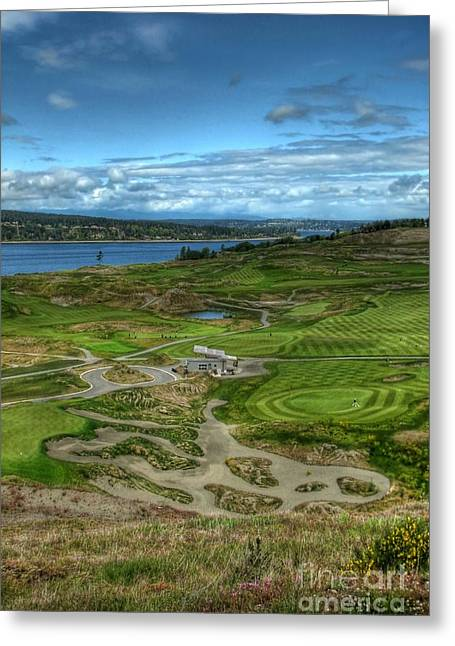 Greeting Card featuring the photograph A Fairway To Heaven - Chambers Bay Golf Course by Chris Anderson