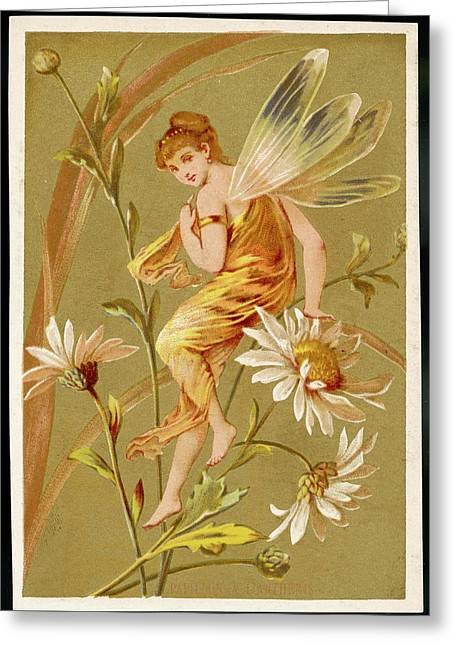 A Fairy Sits Lightly On The  Stem Greeting Card