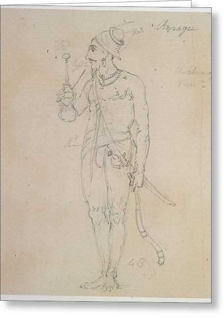 A Fakir Smoking Greeting Card by British Library