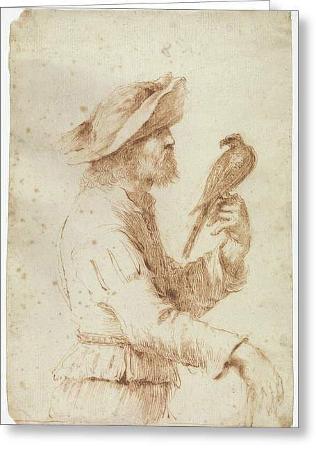 A Falconer In Profile To The Right Greeting Card by Follower of Guercino