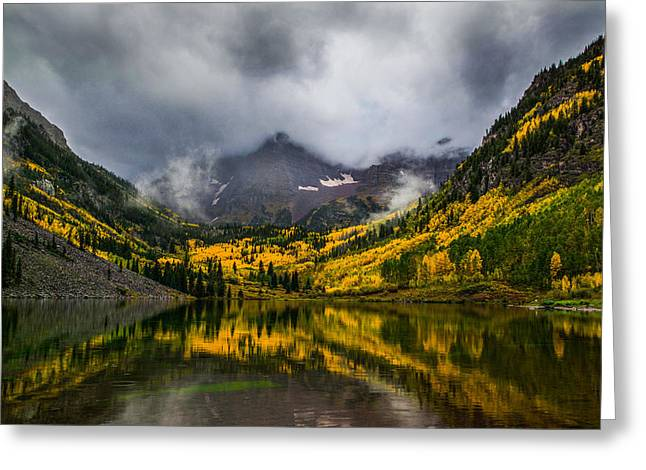 A Fall Morning At Maroon Bells Greeting Card by Peter Irwindale