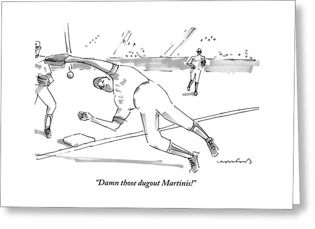 A Falling Baseball Player Fails To Catch A Ball Greeting Card