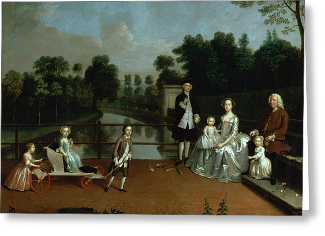 A Family Group On A Terrace In A Garden, 1749 Greeting Card