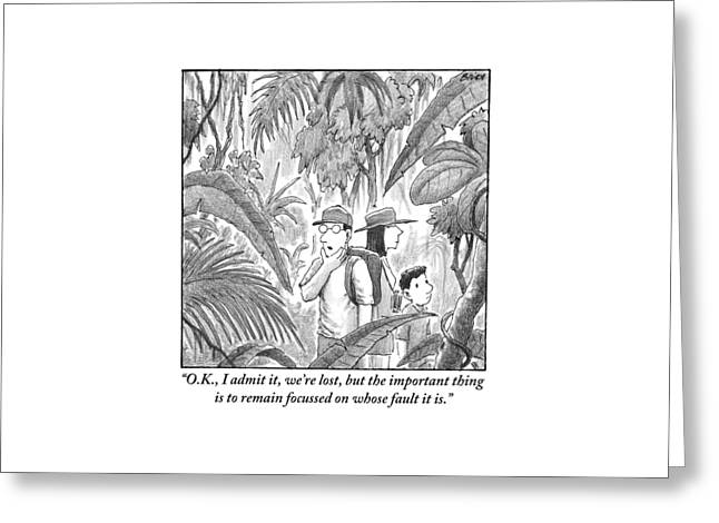 A Family Is Lost In The Depths Of A Jungle Greeting Card by Harry Bliss