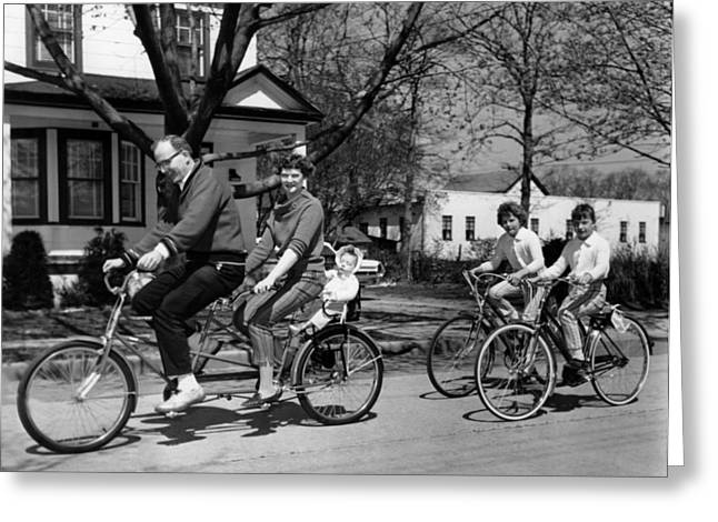 A Family On A Bicycle Ride Greeting Card by Underwood Archives