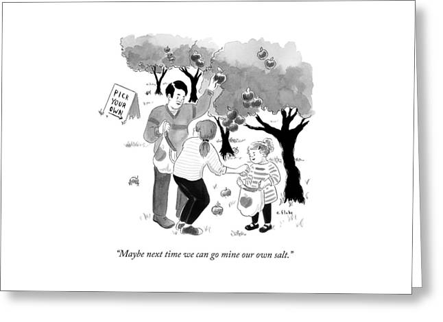 A Family Picks Apples Right From The Tree Greeting Card