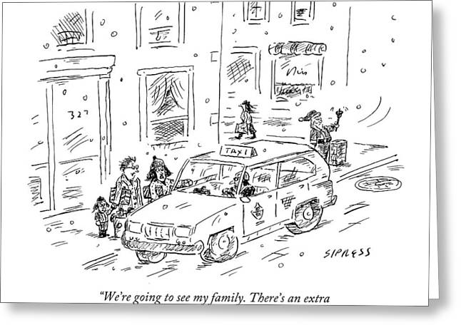 A Family Talks To A Taxi Driver Before Getting Greeting Card