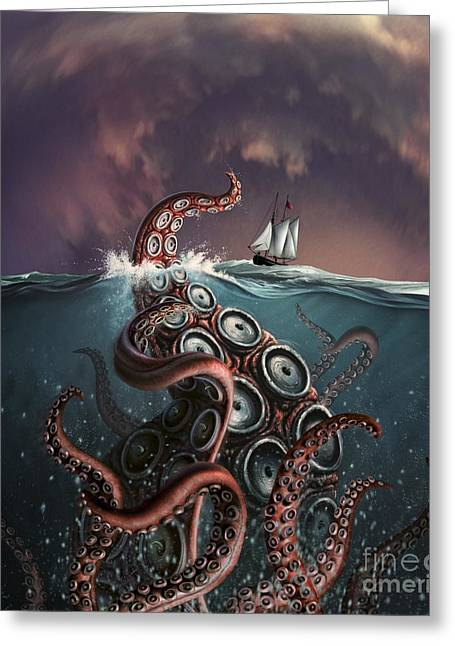 A Fantastical Depiction Greeting Card by Jerry LoFaro