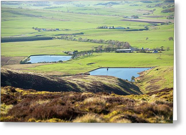 A Farm And Reservoirs Greeting Card