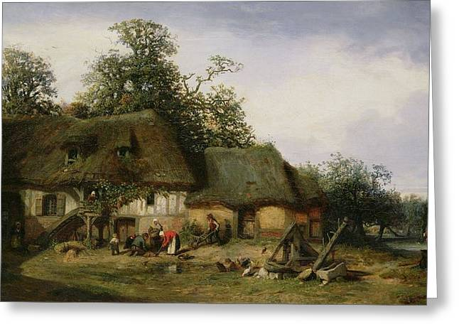 A Farm In Normandy Oil On Canvas Greeting Card by Nicolas Louis Cabat