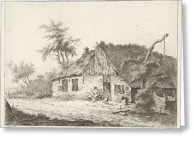 A Farm With A Thatched Roof, A Peasant Woman Is Leaning Greeting Card by Artokoloro