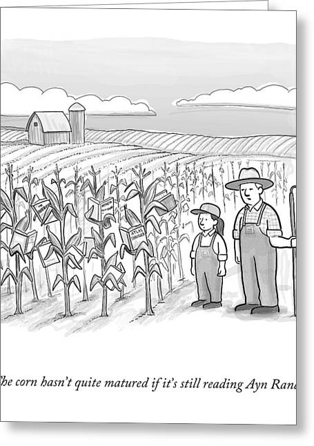 A Farmer And His Daughter Look At Cornstalks Who Greeting Card