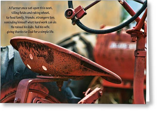 A Farmer And His Tractor Poem Greeting Card