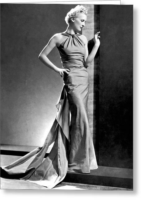 A Fashion Shot From France Showing An Evening Dress With Its Dou Greeting Card