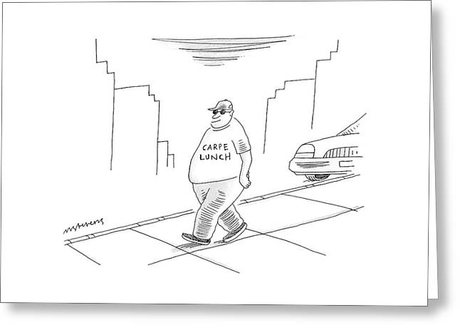 A Fat Man Walks Down The Street Wearing A T-shirt Greeting Card