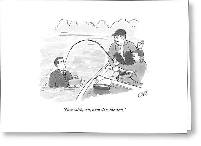 A Father And Son On A Fishing Trip Pull Greeting Card by Carolita Johnson