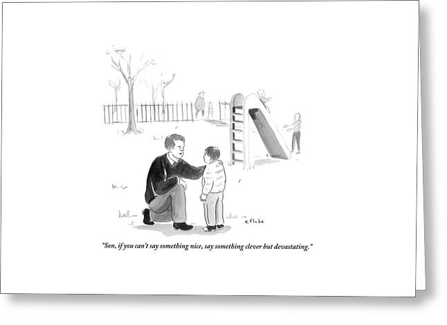 A Father Encourages His Son At The Playground Greeting Card by Emily Flake