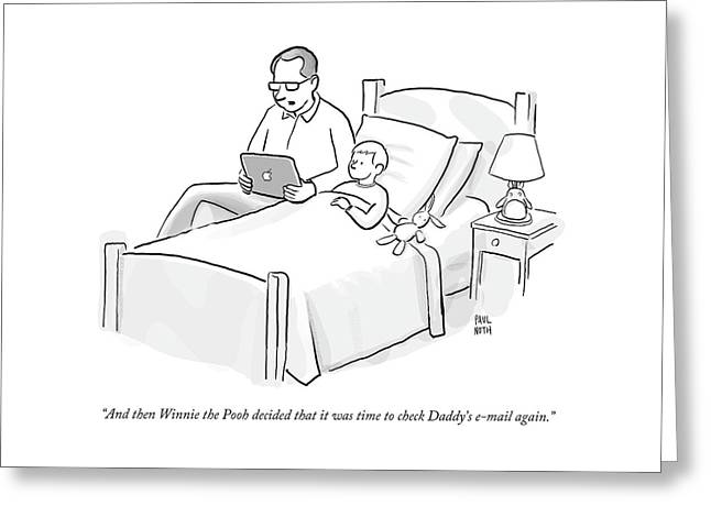 A Father Is Reading His Son A Bedtime Story Greeting Card