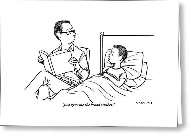 A Father Is Seen Reading A Book To His Son Who Greeting Card by Alex Gregory