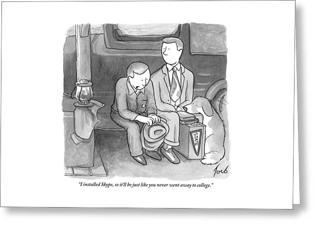 A Father Speaks To His Son Who Is Leaving Home Greeting Card