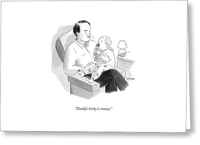 A Father Talks To His Baby Greeting Card by Emily Flake
