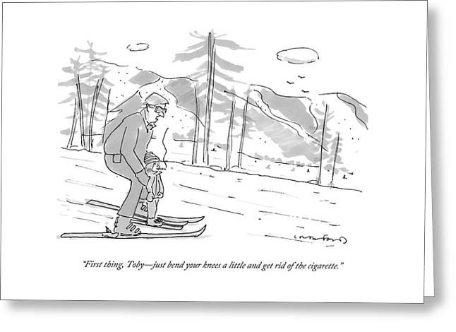 A Father Teaches His Son To Ski. The Son Greeting Card