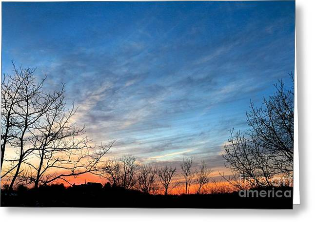 A February Sunset Greeting Card by Jay Nodianos