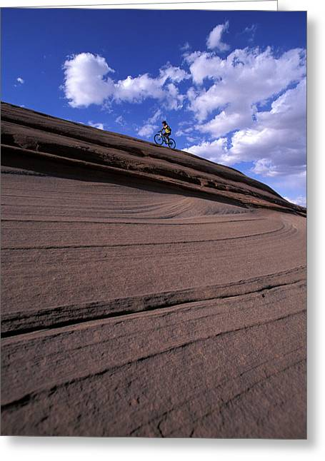 A Female Mountain Biker Mountain Biking Greeting Card