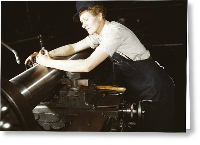 A Female Worker Checking An M7 Gun Greeting Card by Stocktrek Images