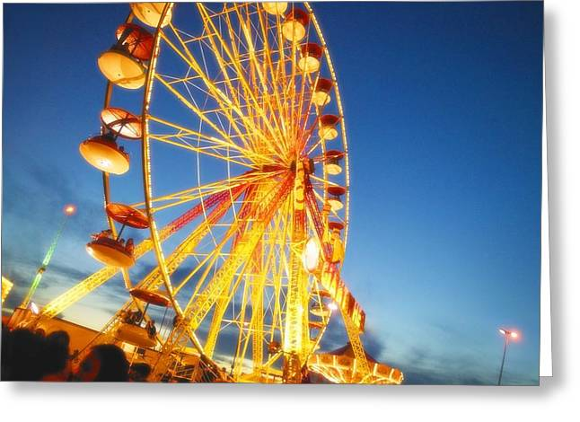 A Ferris Wheel At Night Greeting Card by Don Hammond