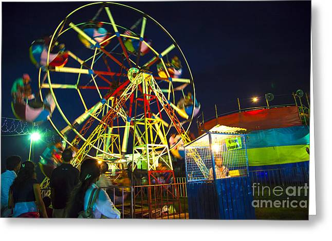 A Ferris Wheel Veers By A Big Folk Festival Greeting Card