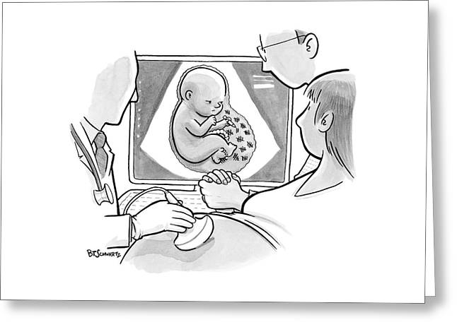 A Fetus In A Placenta Marks The Days As Ticks Greeting Card