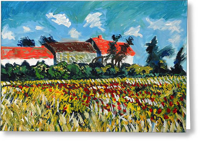 A Field In France Greeting Card by Paul Sutcliffe