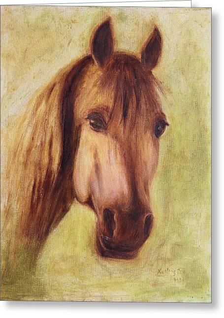 Greeting Card featuring the painting A Fine Horse by Xueling Zou