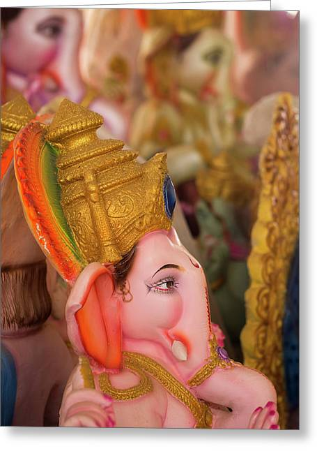 A Finished Ganesha Statue Waits Greeting Card by David H. Wells