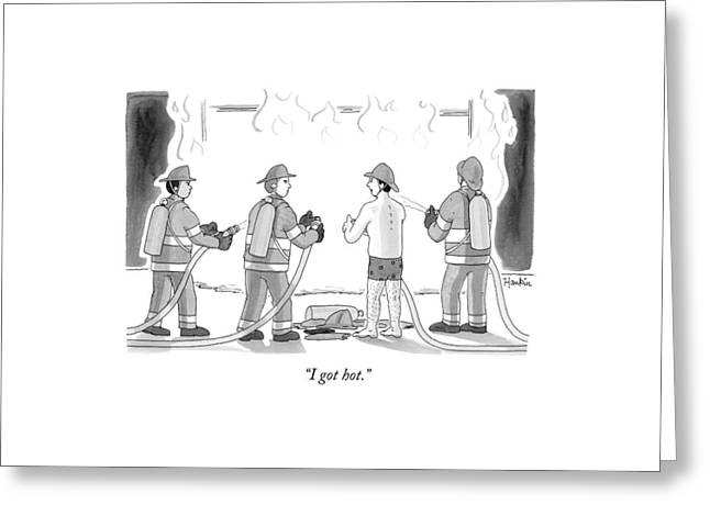 A Fireman In His Boxers Talks To His Colleagues Greeting Card by Charlie Hankin