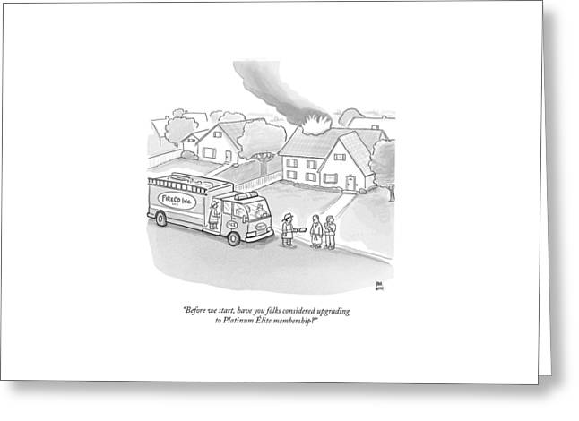 A Fireman Talks To A Family While Their House Greeting Card by Paul Noth