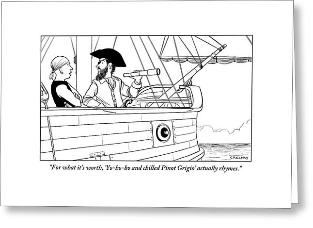 A First Mate Addresses His Pirate Captain Greeting Card by Alex Gregory