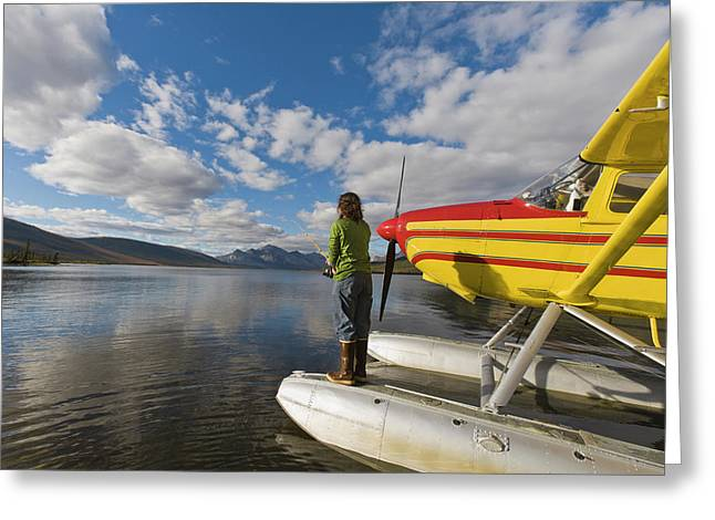 A Fisherman On A Floatplane In Scenic Greeting Card by Hugh Rose