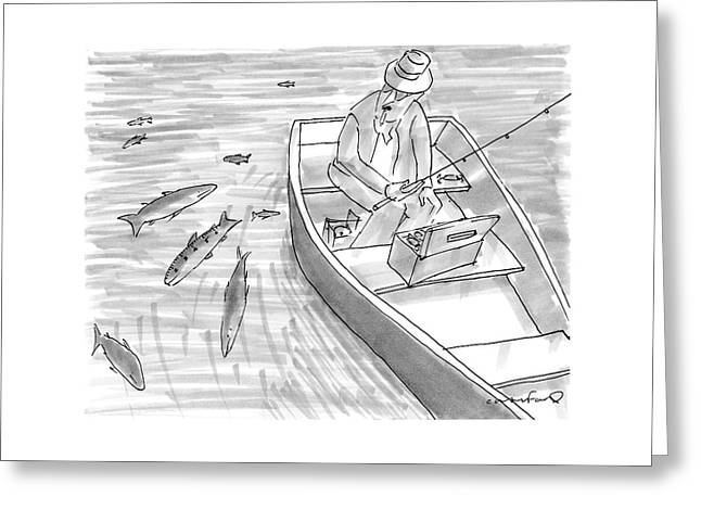 A Fisherman On A Rowboat Looks At The Fish Greeting Card