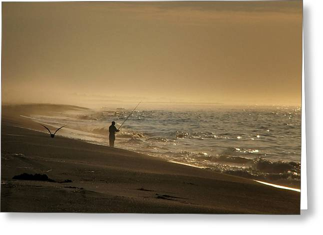 Greeting Card featuring the photograph A Fisherman's Morning by GJ Blackman
