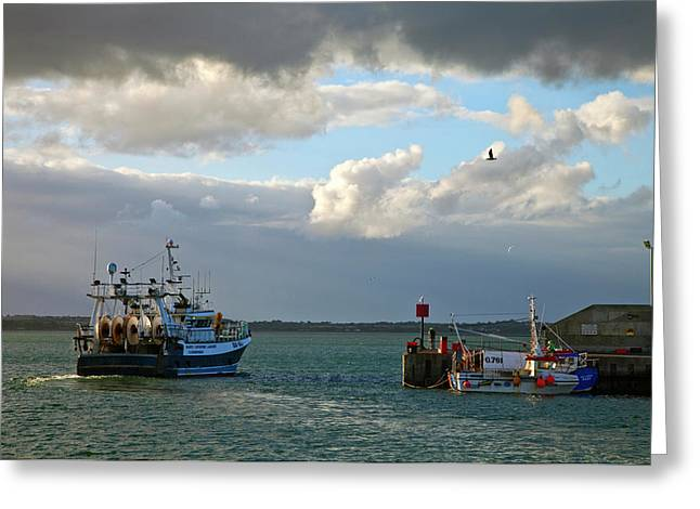 A Fishing Boat Leaving Inthe Newly Greeting Card
